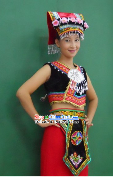 Chinese Ethnic Zhuang Female Clothing and Hat