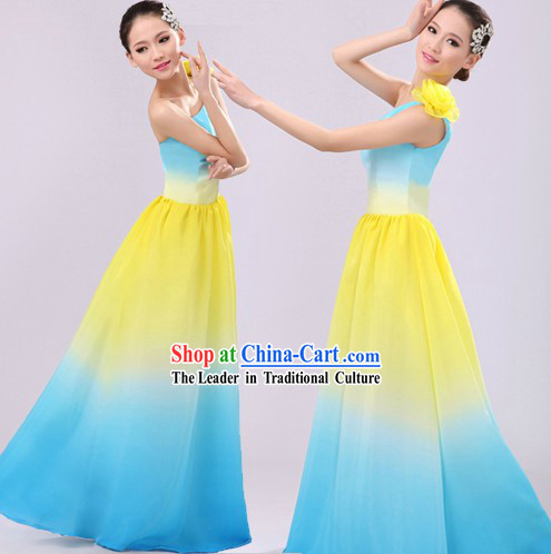 Color Transition Chinese Yangge Fan Dancing Costumes for Women