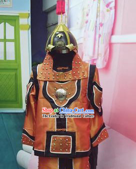 Ancient Chinese General Warrior Costumes and Helemt for Men