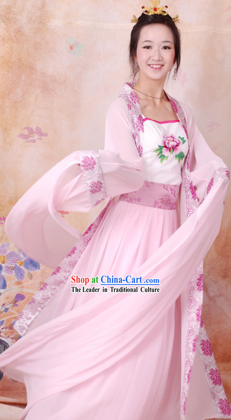 Ancient Chinese Pink Water Sleeve Dance Costumes for Women