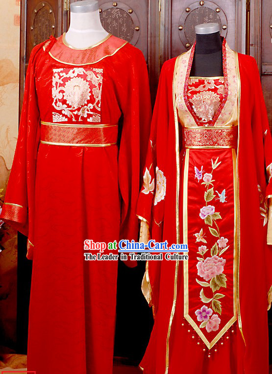 Chinese Ancient Wedding Dresses Two Sets for Brides and Bridegrooms