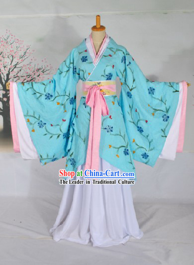 Ancient Chinese Han Dynasty Princess Blue Clothing Complete Set