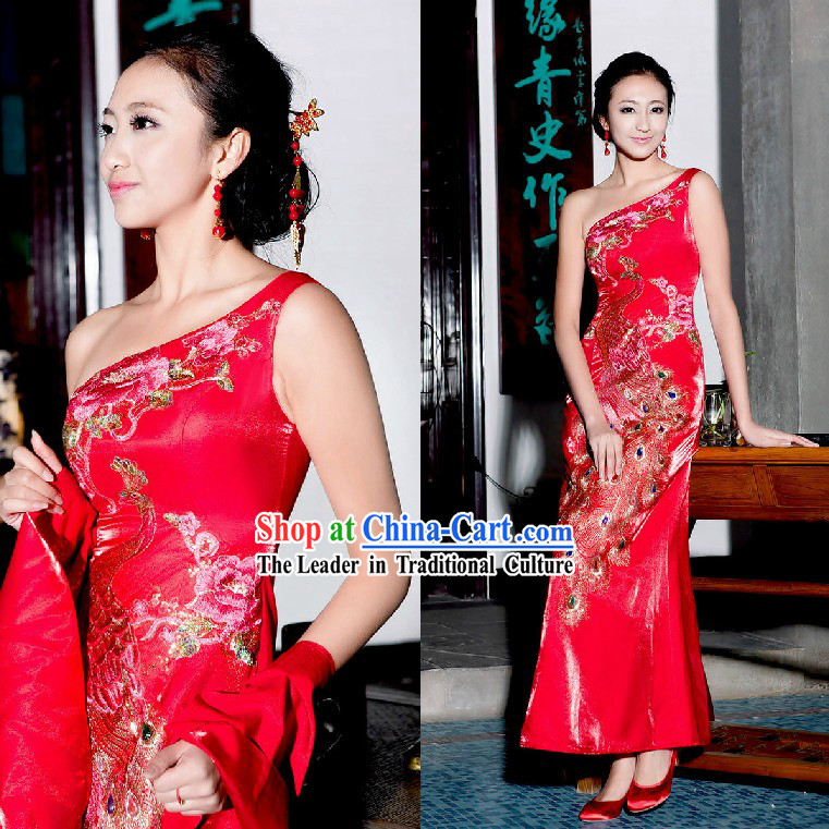 Chinese Classic Red Peacock Evening Dress for Women