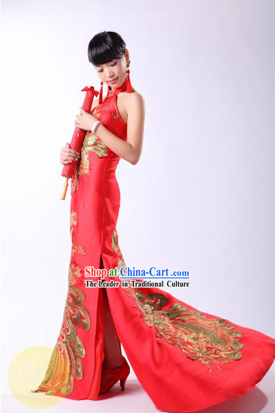 Lucky Red Chinese Phoenix Evening Dress for Brides