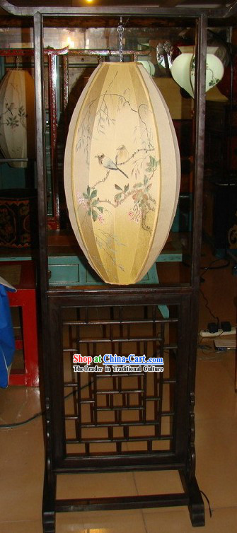 Chinese Classic Handmade and Painted Silk Wood Bird Flower Floor Lamp