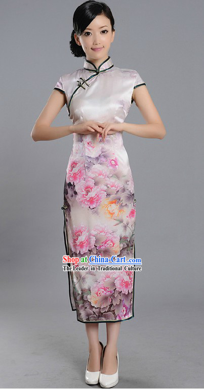 Traditional Chinese Silk Peony Qipao Cheongsam for Women