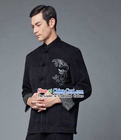 Traditional Chinese Black Dragon Blouse for Men