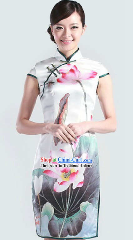 Traditional Chinese Silk Lotus Qipao for Women