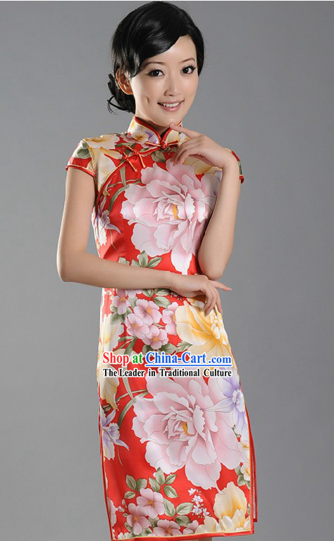 Chinese Stunning Silk Peony Qipao for Women