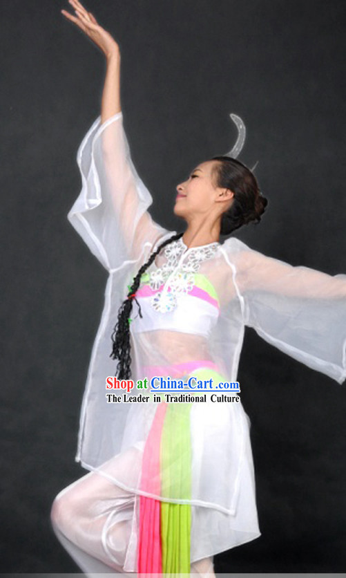 Traditional Chinese Classical Dance Costume and Headpiece for Women