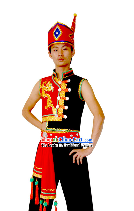 Chinese Yi Dragon Native Costume and Hat for Men