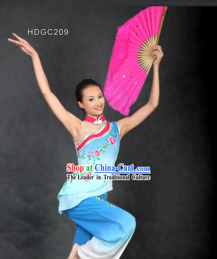 Chinese Classic Embroidered Color Transition Fan Dance Costume for Women