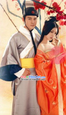 Ancient Chinese Swordsman Costumes and Beauty Costumes 2 Complete Sets