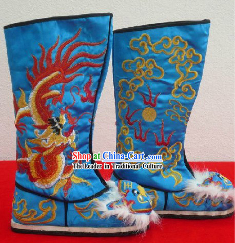 Chinese Classical Blue Embroidered Dragon Long Boots for Men