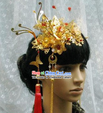 Stunning Chinese Wedding Butterfly and Flower Headwear for Brides