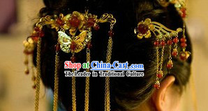 Stunning Chinese Butterfly Wedding Headpiece Set for Women