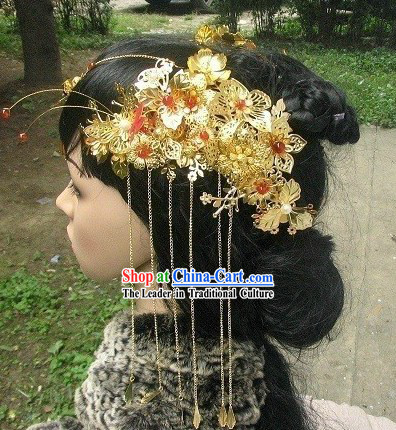 Traditional Chinese Handmade Hairpins and Tassels for Brides