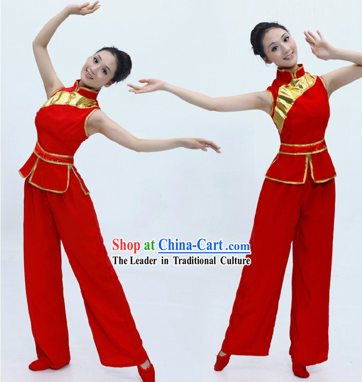 Chinese Classical Red Fan Dance Costume for Women