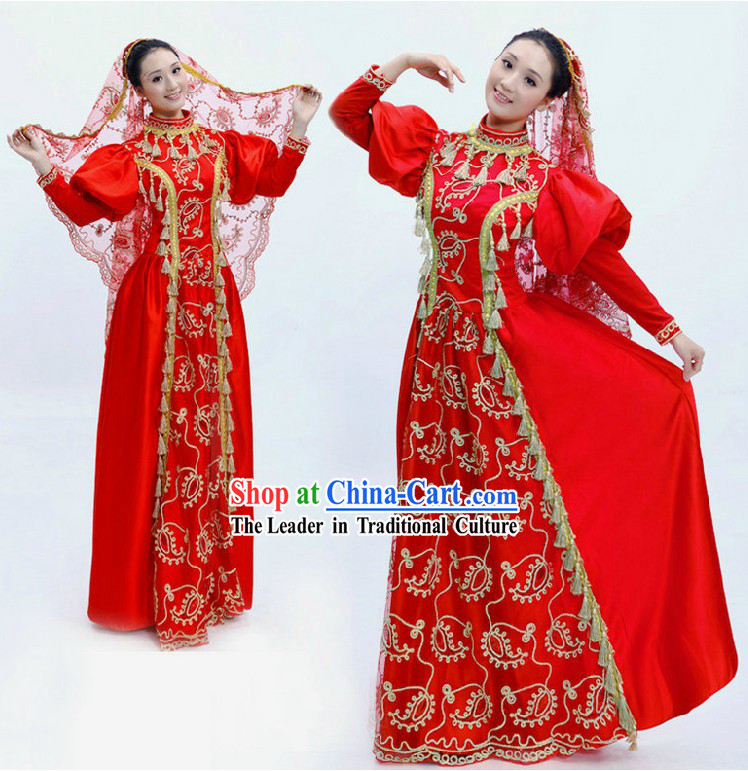 Traditional Chinese Red Minority Dance Costumes and Veil for Women