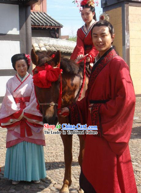 Ancient Chinese Red Wedding Dresses for Men and Women