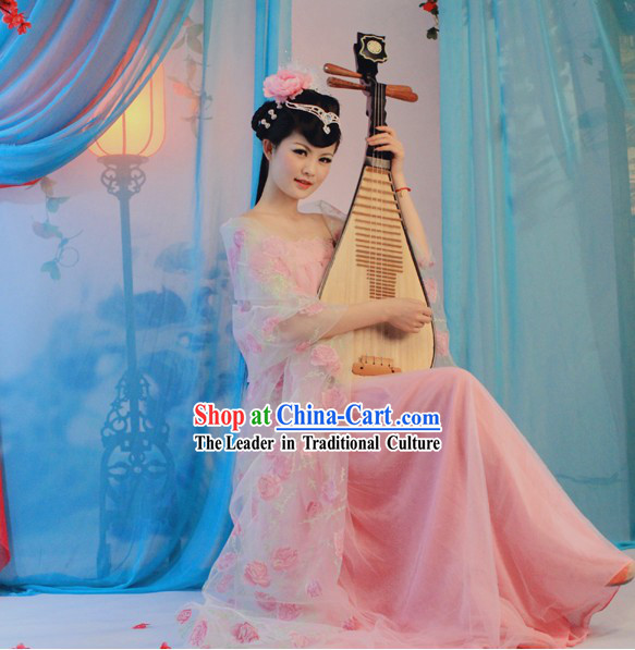 Traditional Chinese Tang Dynasty Musician Pink Clothing for Women