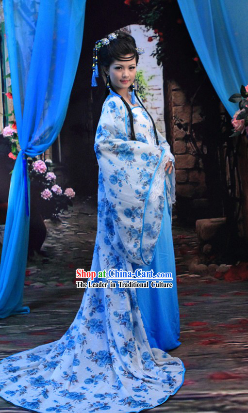 Traditional Chinese Blue Flower Hanfu Clothing for Women