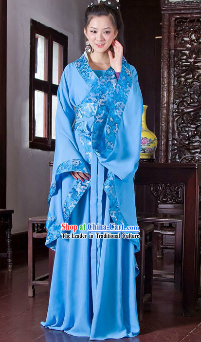 Traditional Chinese Blue Hanfu Clothing Complete Set for Women