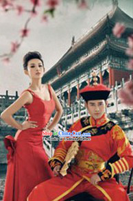 Ancient Chinese Imperial Emperor Wedding Clothing and Crown for Men