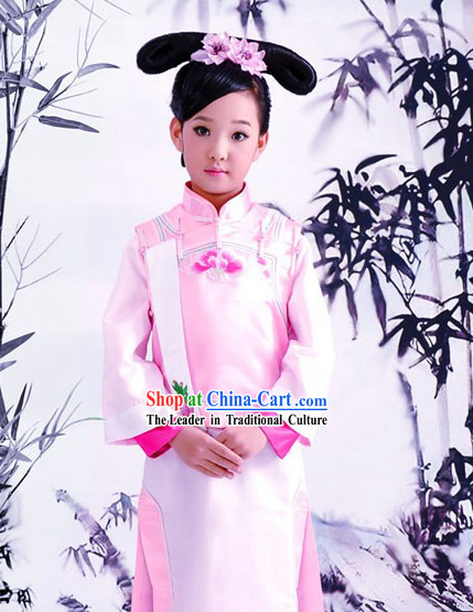 Traditional Chinese Pink Palace Dress and Headpiece for Women