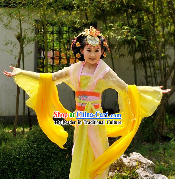 Ancient Chinese Palace Princess Yellow Costumes for Children