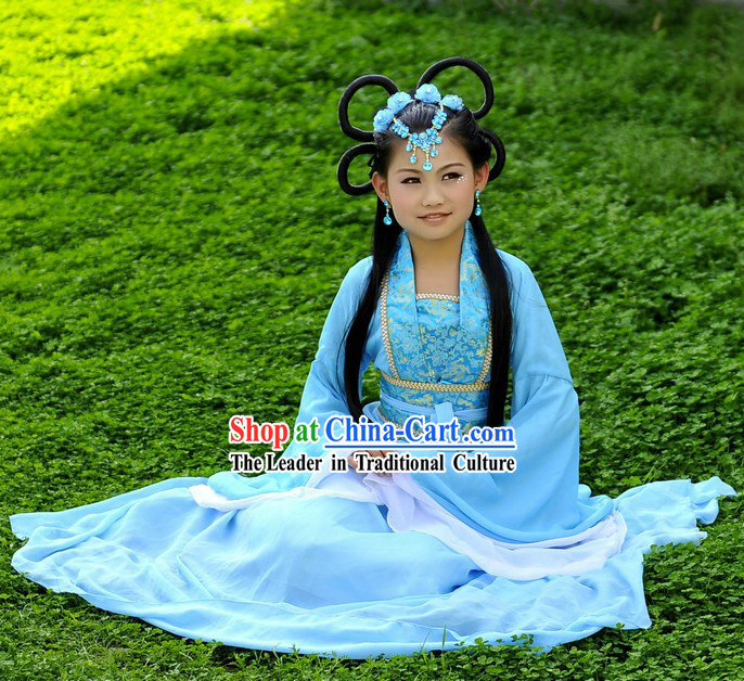 Ancient Chinese Blue Fairy Costume and Wig for Children