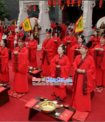 Ancient Chinese Wedding Clothing and Hat for Men and Women