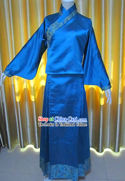 Ancient Chinese Blue Wide Sleeve Costumes for Women
