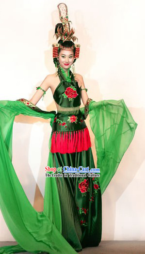 Ancient Chinese Princess Stage Performance Costume and Headpiece