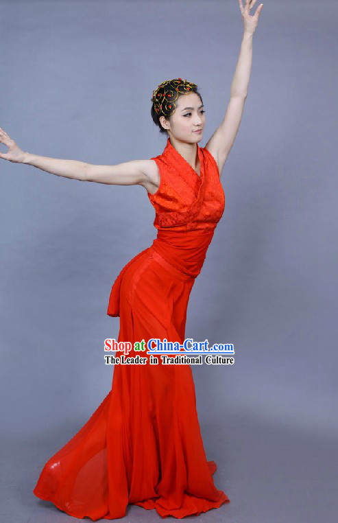 Chinese Style Red Dance Costume for Women
