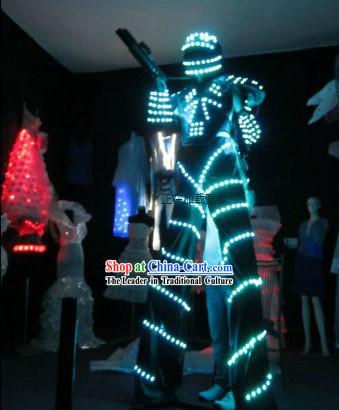 Custom Made EL Wire Luminous Costumes Complete Set