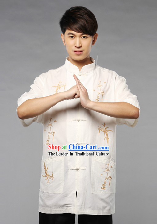 Traditional Chinese White Blouse with Chinese Characters