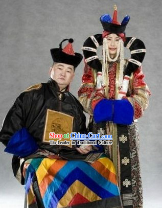 Traditional Chinese Mongolian Clothing and Hats for Men and Women