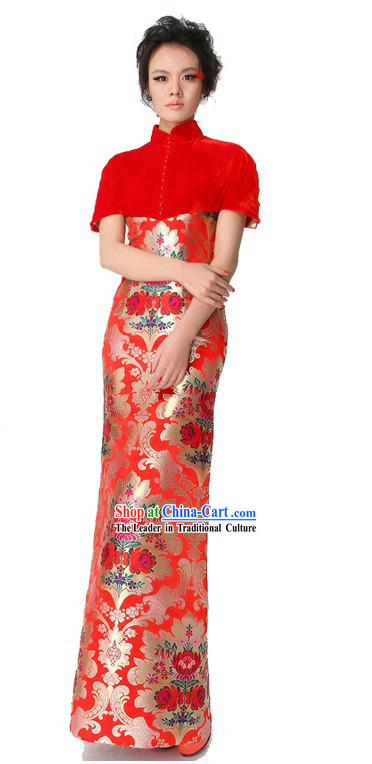 Chinese Classical Red Cheongsam Wedding Dress