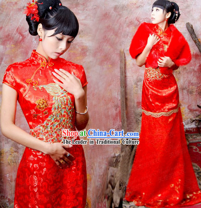 Chinese Classical Red Phoenix Wedding Clothing