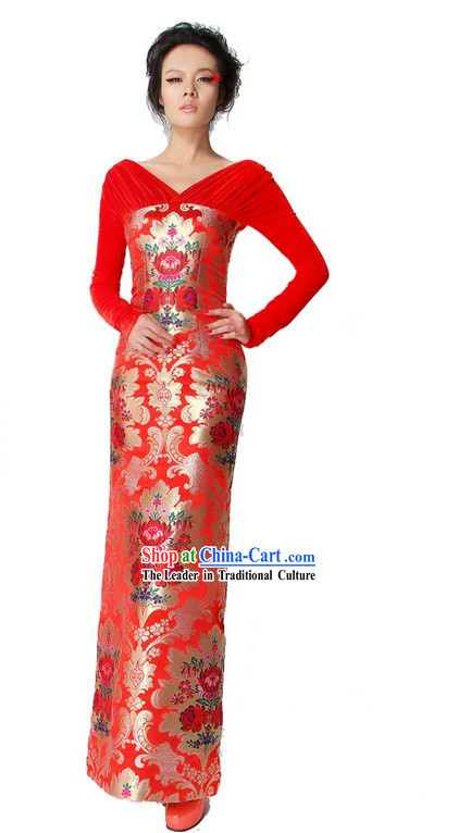 Chinese Classical Red Long Wedding Dress