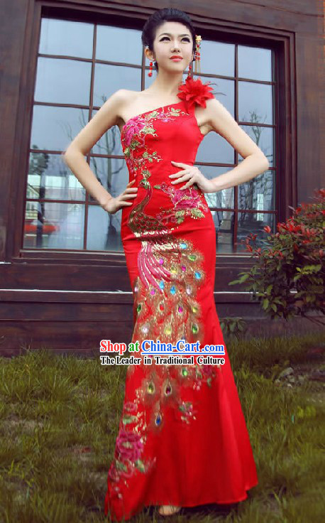 Lucky Red One Shoulder Long Wedding Phoenix Cheongsam