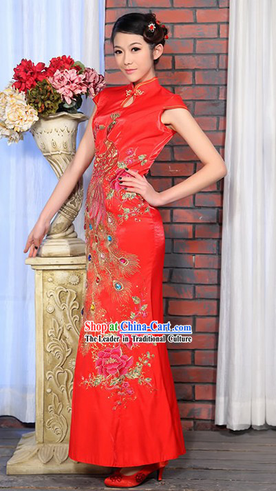 Lucky Red Long Wedding Phoenix Cheongsam