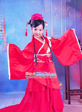 Ancient Chinese Red Hanfu Clothing for Kids