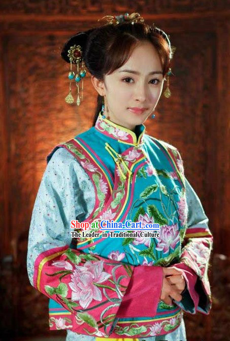Ancient Chinese Qing Dynasty Princess Embroidered Lotus Clothing for Women