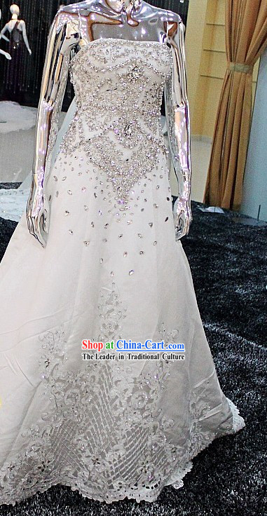 Shinning White Princess Wedding Dress for Bride