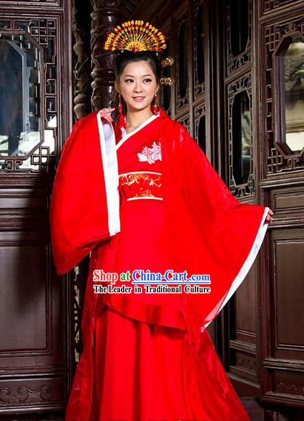 Chinese Classical Lucky Red Wedding Dress and Coronet for Brides