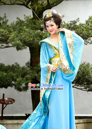 Ancient Chinese Blue Long Tail Clothes for Women