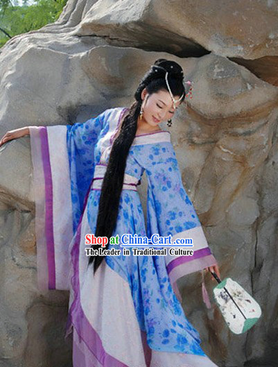 Ancient Chinese Blue Flower Women Clothing