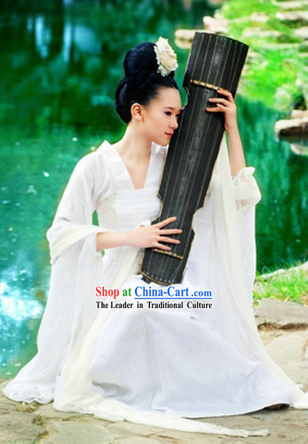 Ancient Chinese White Wise Lady Costumes with Long Scarf